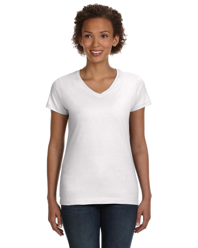 Ladies' Fine Jersey V-Neck Longer Length T-Shirt